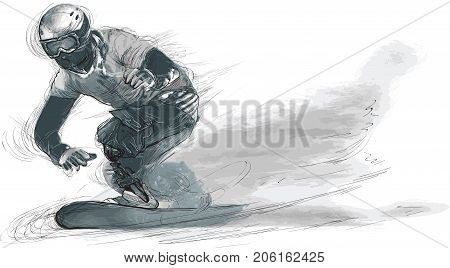 SNOWBOARD. From the series SILENT HEROES - Athletes with physical disabilities. An hand drawn vector.