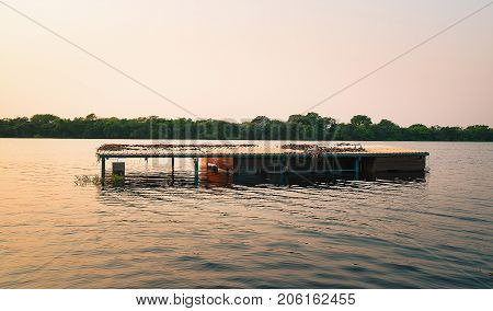 Floating House Sunk In The Waters Of The Pantanal