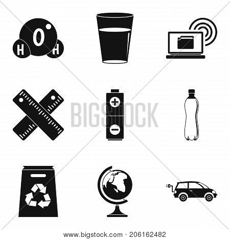 Chemical substance icons set. Simple set of 9 chemical substance vector icons for web isolated on white background