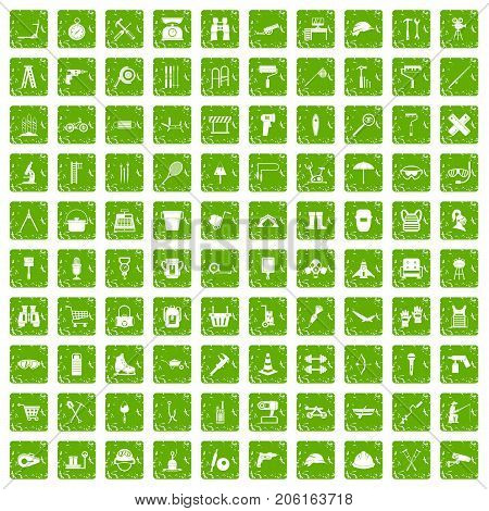 100 tackle icons set in grunge style green color isolated on white background vector illustration