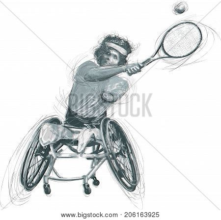 WHEELCHAIR TENNIS. From the series SILENT HEROES - Athletes with physical disabilities. An hand drawn vector. Note