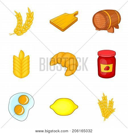 Rye for baking icons set. Cartoon set of 9 rye for baking vector icons for web isolated on white background