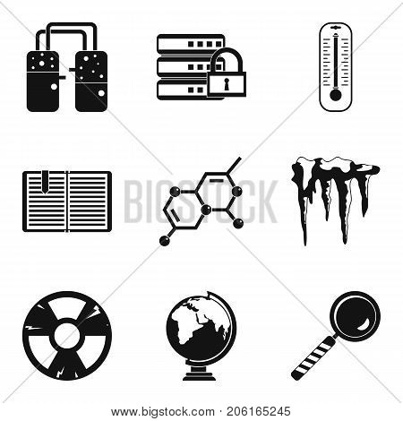 Physical icons set. Simple set of 9 physical vector icons for web isolated on white background