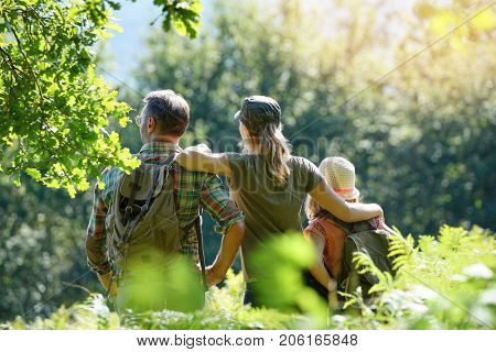 Family on a rambling day in countryside