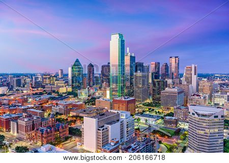 Dallas, Texas, USA downtown skyline at twilight viewed from above. poster