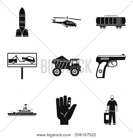 Burden icons set. Simple set of 9 burden vector icons for web isolated on white background