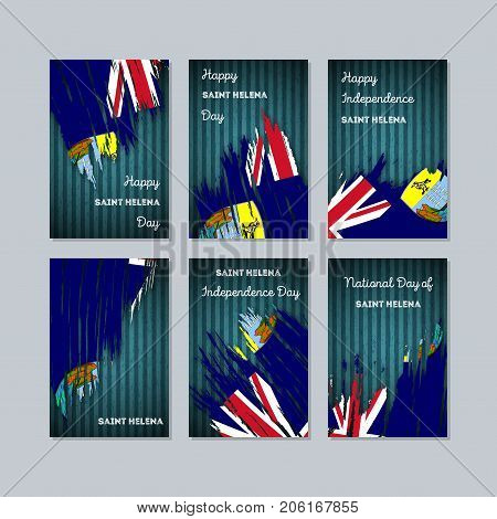 Saint Helena Patriotic Cards For National Day. Expressive Brush Stroke In National Flag Colors On Da