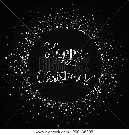 Happy Christmas Greeting Card. Amazing Falling Stars Background. Amazing Falling Stars On Red Backgr