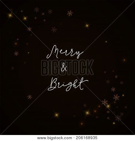 Merry & Bright Greeting Card. Sparse Starry Snow Background. Sparse Starry Snow On Brown Background.