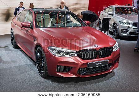 Frankfurt-September 20: BMW M5 at the Frankfurt International Motor Show on September 20 2017 in Frankfurt