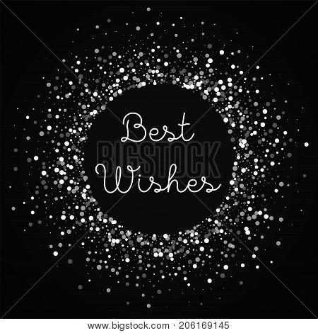 Best Wishes Greeting Card. Random Falling White Dots Background. Random Falling White Dots On Red Ba