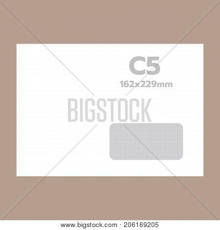 C5 envelope mockup. Realistic illustration of c5 envelope vector mockup for web design