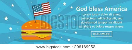 God bless America banner horizontal concept. Flat illustration of God bless America banner horizontal vector concept for web design