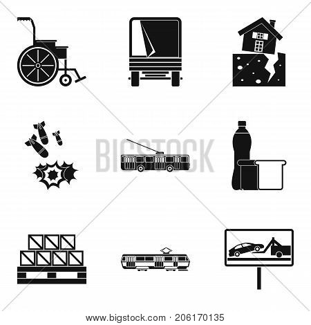 Warlike icons set. Simple set of 9 warlike vector icons for web isolated on white background