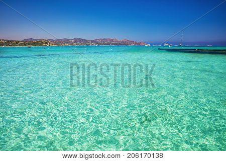 Porto Giunco beach Villasimius Sardinia Italy. Sardinia is the second largest island in the Mediterranean Sea