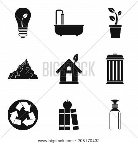 Landscaping of the planet icons set. Simple set of 9 landscaping of the planet vector icons for web isolated on white background