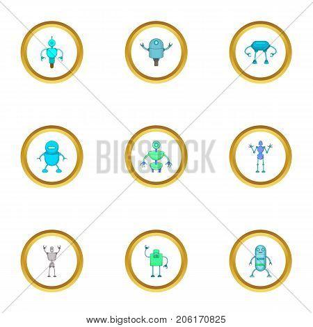 Technology robot icons set. Cartoon style set of 9 technology robot vector icons for web design