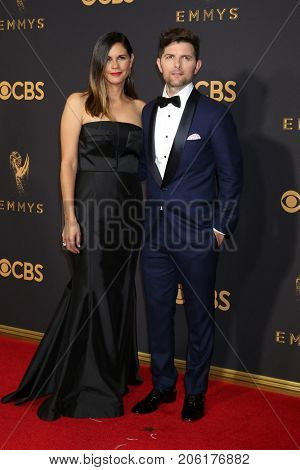 LOS ANGELES - SEP 17:  Naomi Scott, Adam Scott at the 69th Primetime Emmy Awards - Arrivals at the Microsoft Theater on September 17, 2017 in Los Angeles, CA