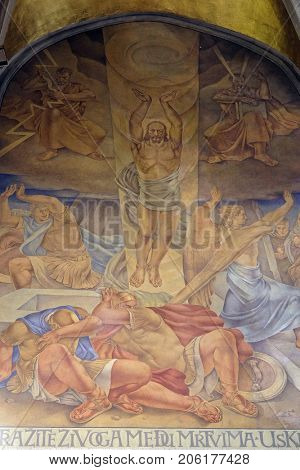 ZAGREB, CROATIA - AUGUST 19: Resurrection of Christ, fresco in the church of St. Mark in Zagreb, Croatia on August 19, 2017.