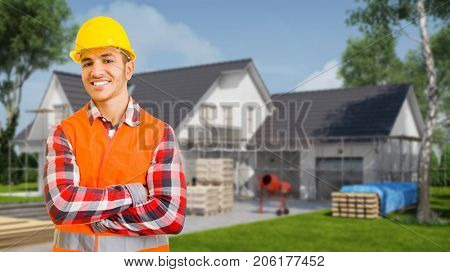 Construction worker at house construction site (3D Rendering)
