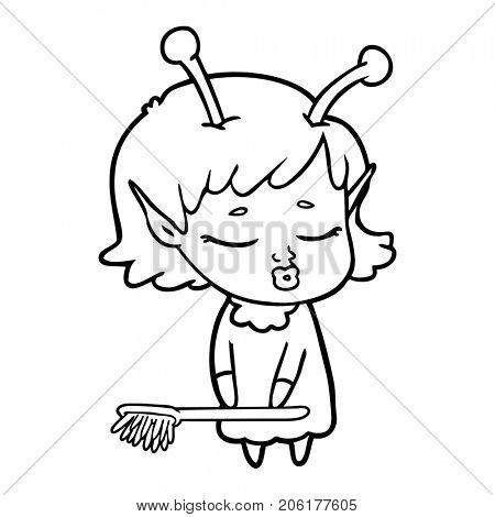 cute alien girl cartoon cleaning