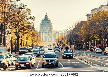 Pennsylvania street and US Capitol in Washington DC, USA