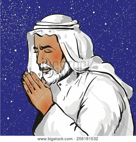 Muslim praying, vector illustration in pop art style stock