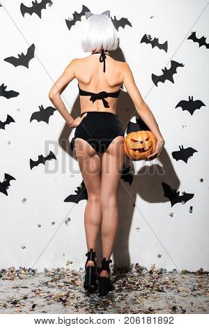 Back view image of pretty young woman in halloween costume cat on party over white background with pumpkin.