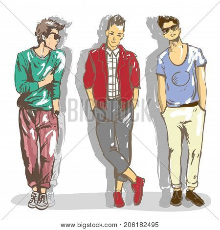 Set vector illustrations of a fashionable guys