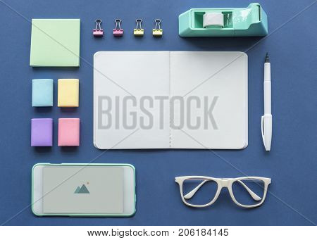 Office supplies organize isolated on background