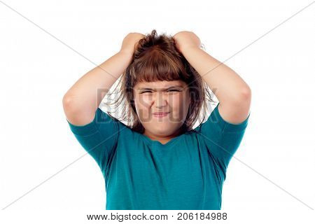 Angry girl pulling her hair isolated on a white background