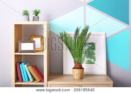 Sago palm and framed picture of tropical leaves on bookcase in house