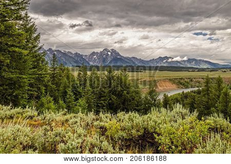 Clouds over the Grand Tetons in Wyoming