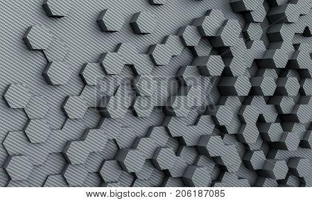 carbon fiber poly geometric background 3d rendering image