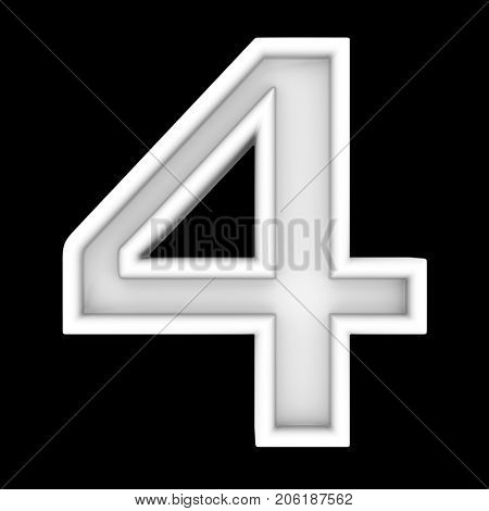 3d white symbol - figure number four. Isolated on black.
