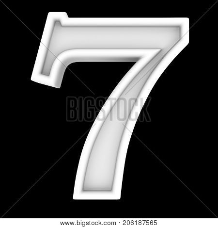3d white symbol - figure number seven. Isolated on black.