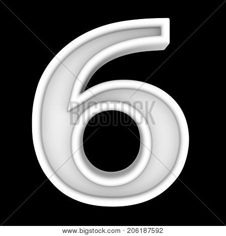 3d white symbol - figure number six. Isolated on black.