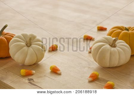 Mini pumpkins with candy corn scattered around.