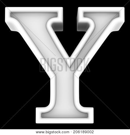 3d rendering. White letter Y. Isolated on black.