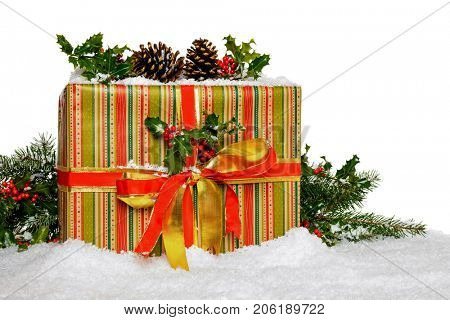 A gift wrapped Christmas present with holly and snow against a white background.