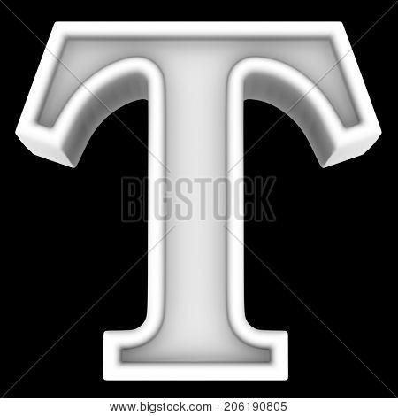 3d rendering. White letter T. Isolated on black.