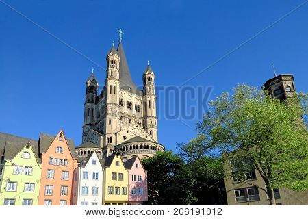 Great St. Martin Church in Cologne Germany as seen from the fish market.