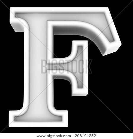 3d rendering. White letter F. Isolated on black.