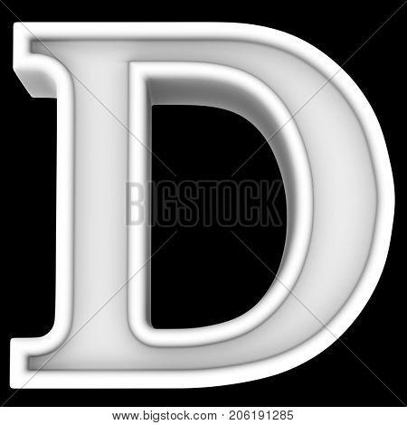 3d rendering. White letter D. Isolated on black.