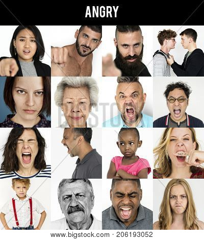 People Mad Angry Feeling Emotion Expression Studio Portrait Collage