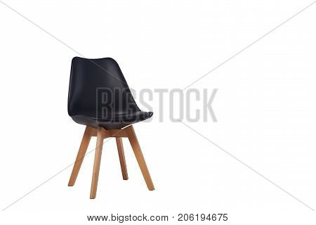 modern black chair with wooden legs isolated on white background