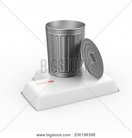 Removal of information on white background. Isolated 3D illustration