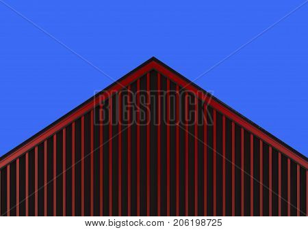3d rendering. red wood panels wall gable house roof and blue sky as background
