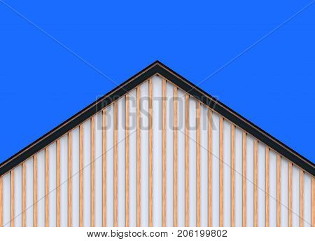 3d rendering. wood panels wall gable house roof and blue sky as background