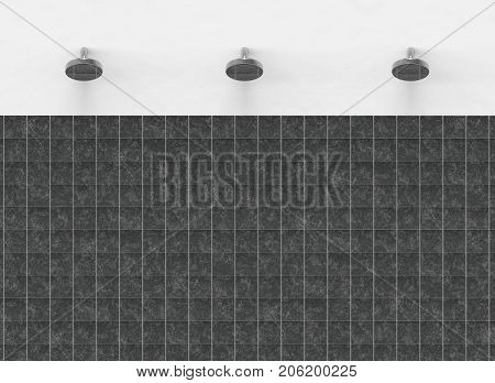 3d rendering. shower head with the black tile wall